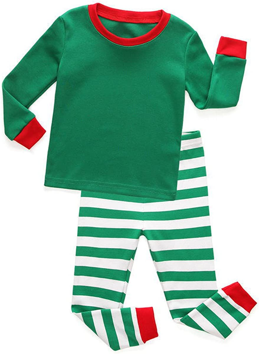KINYBABY Boys Girls 2 Piece Christmas Pajamas Set Cotton Striped Kids Pjs Outfit