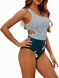 Best One Piece Swimsuits for Women High Waisted Bathing Suit Monokini Floral Print Cutout Racerback Zip Up Review