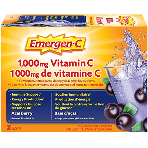 Emergen-C Acai-Berry  (30 Count), 1000mg Vitamin C / Electrolytes / B Vitamins Mineral Supplement