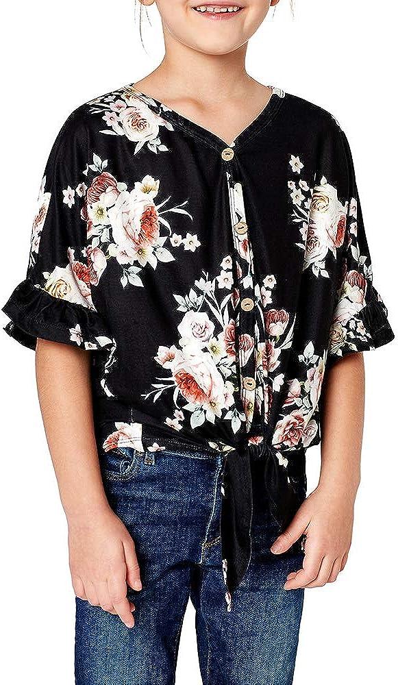 Geckatte Girls Floral Boho Short Sleeve Shirt V Kimono Neck Bu Our shop OFFers the best service T Max 68% OFF