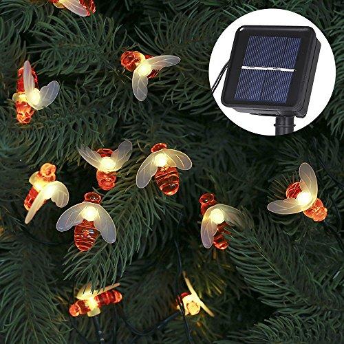 Guirnalda Luces Exterior Solar,Tomshine 50 LEDs 6.9m Cadena de Luces de Abeja LED Decorativas,IP44 Impermeable,8 Modos de Iluminación,Guirnaldas Luminosas para Exterior,Patio,Jardines(Blanco Cálido)