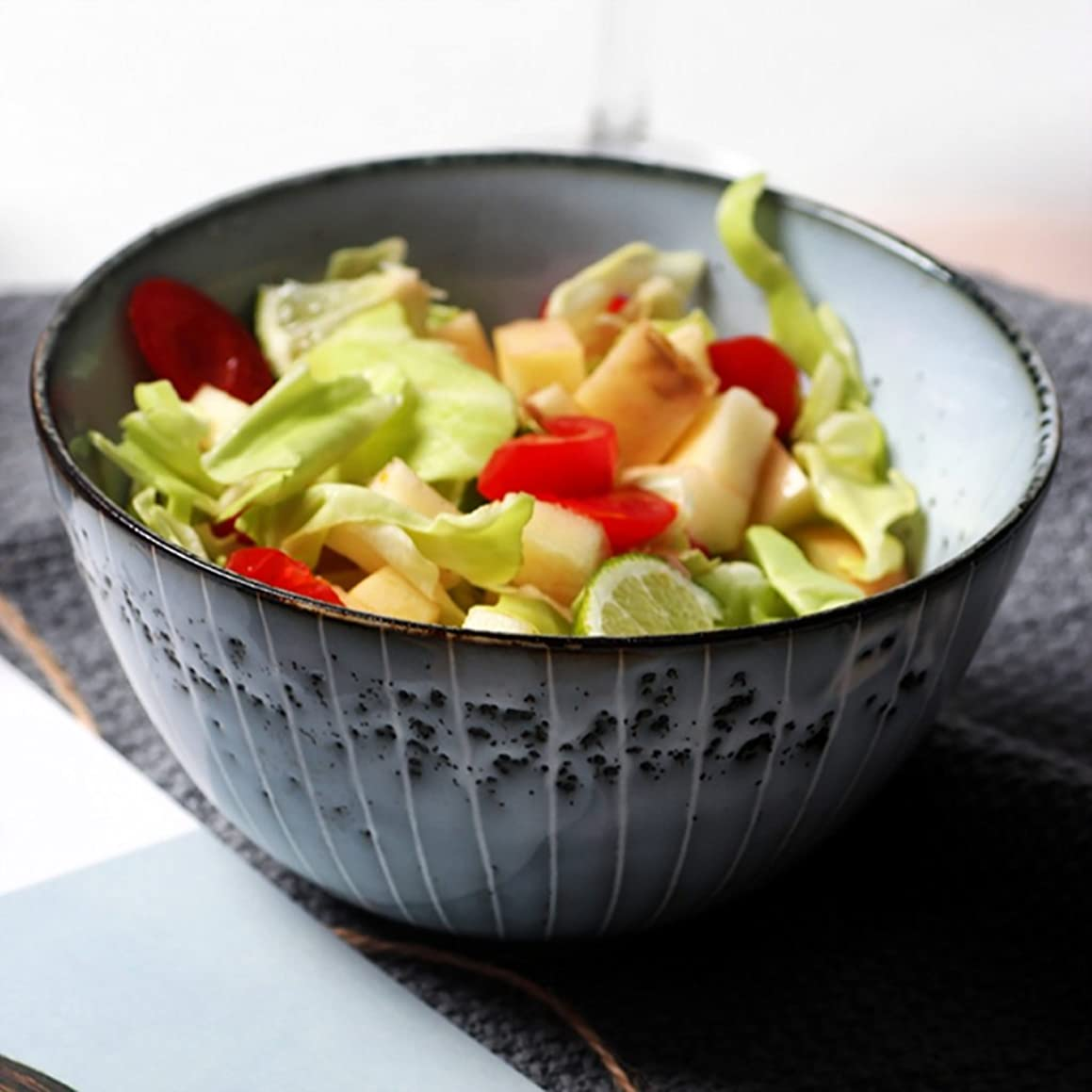 Household Tableware Japanese Style Ceramic Creative Ramen Soup Bowl Salad Bowl Dessert Bowl Fruit Plate (Size: Diameter 15.5CM High 8.5CM)