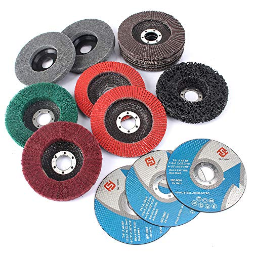 SI FANG 15Pcs 4.5 inch Flap Disc Abrasive Grinding Polishing Wheels Mix Include Grit 60 80 120 240 320 Set For Angle Grinder Assorted Strip Disc Felt Polishing Disc Nylon Polishing Disc Cut Off Wheels