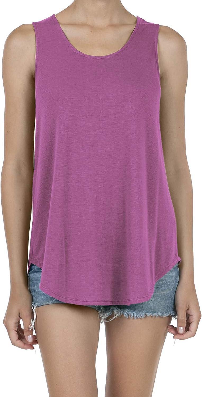 SHOP DORDOR Women's Soft Jersey Knit Scoop Neck Sleeveless Loose Tank Top