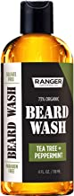 Beard Wash Shampoo by Ranger Grooming Co by Leven Rose, Sulfate Free Natural Beard Cleanser & Conditioner for Men, Tea Tree & Peppermint for Growth & Thickening, Paraben Free 4 Oz