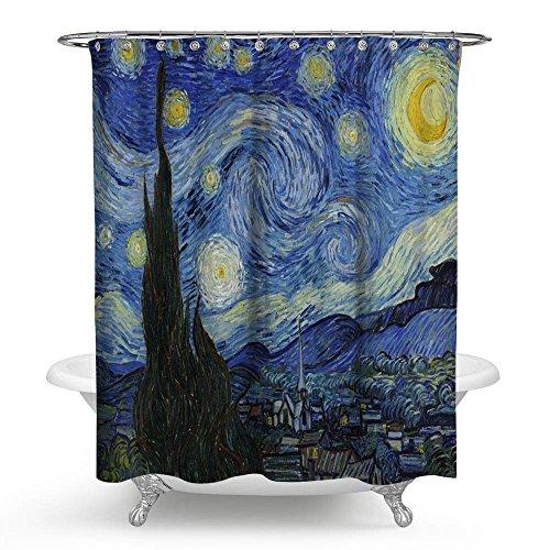 KISY Van Gogh Starry Night Wasserdicht Bad Duschvorhang Ölgemälde Badezimmer Dusche Vorhang Standard Größe 177,8x 177,8cm blau