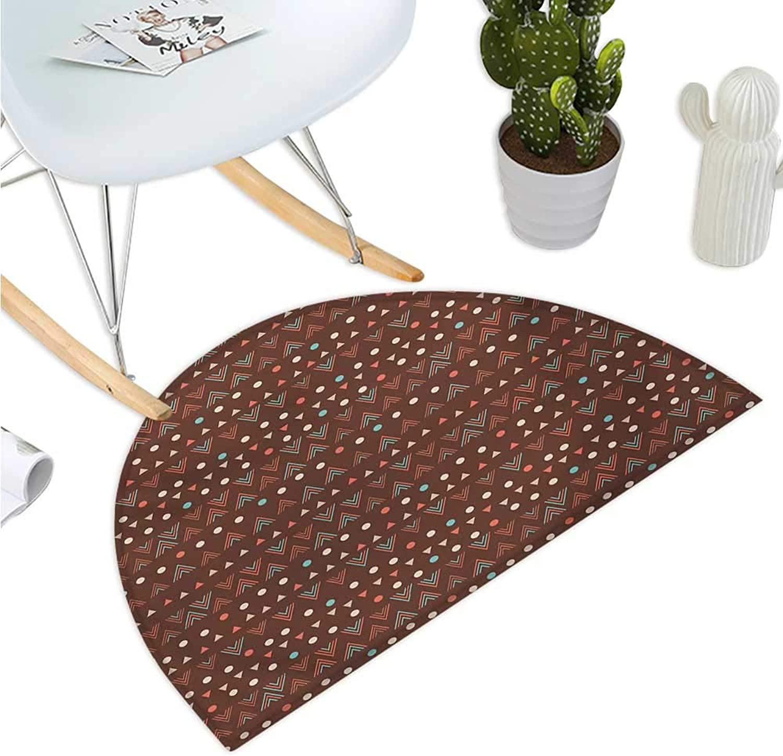 Tribal Semicircular Cushion Ethnic Image with Wave Like Zig Zag Borders and Polka Dots Abstract Backdrop Artwork Bathroom Mat H 39.3  xD 59  Dark Brown
