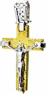 Ciondolo da Uomo in Oro Giallo e Bianco 18kt (750) Pendente Crocifisso Croce Gesù Cristo Bicolore