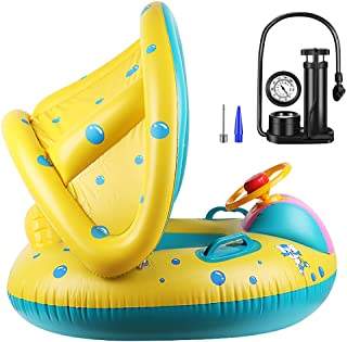 Baby Swimming Float Boat, Baby Pool Float,With Adjustable Sunshade & Inflator, Baby Swimming Ring Inflatable Kids Swim Seat