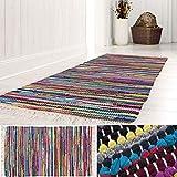 andiamo Bunter Flickenteppich aus Baumwolle, pflegeleichter Fleckerlteppich, handgewebt, robust, Größe:70 x 140 cm