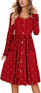 NREALY Dress Womens Dot O Neck Button Dress Long Sleeve Pocket Casual Beach Long Maxi Dress