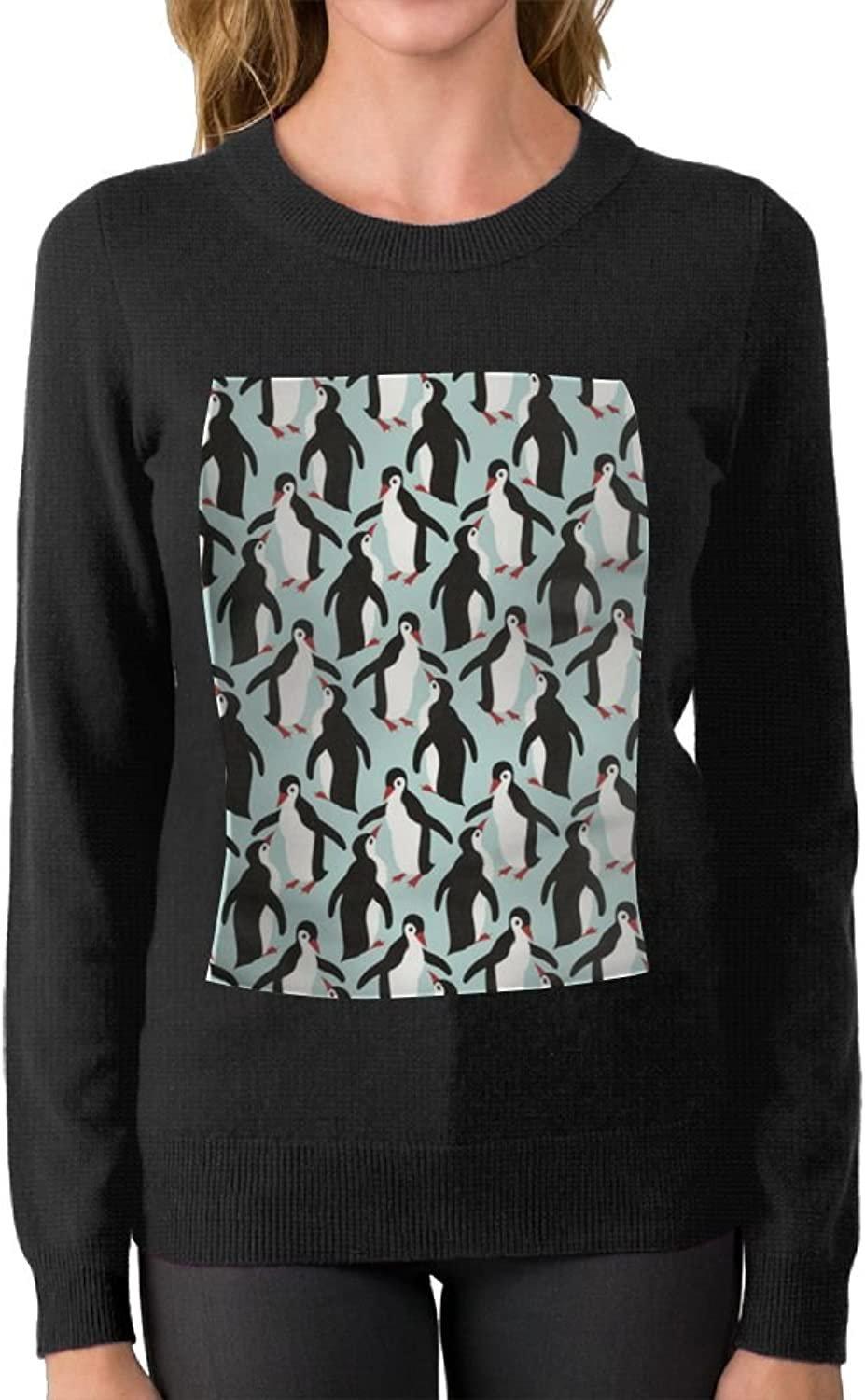 Womens Ladies Lots Of Penguin Pattern Casual Sweater Boyfriend First Quality\r\n Unique Crew Neck