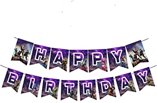Awyjcas Video Game Party Favors Birthday Banner Party Supplies Baby Boy Birthday Cake Kids Battle Royale Gamer Decorations
