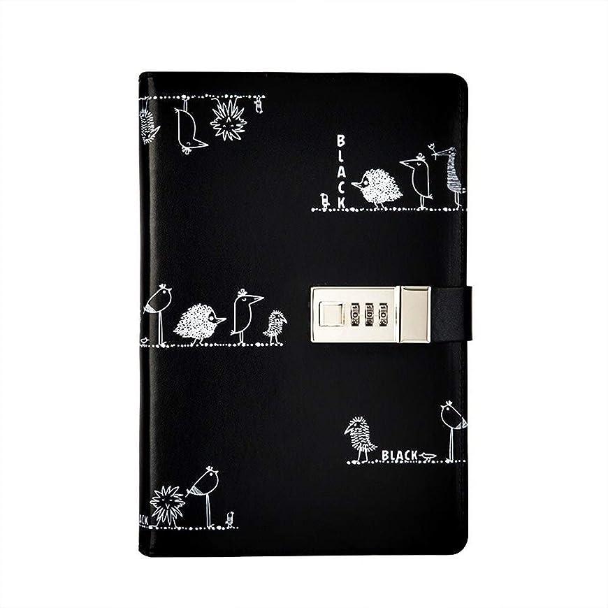 PUレザーノートブックA5、コンビネーションロックパスワードロック付きメモ帳、秘密の日記 (Color : Black Notebook)