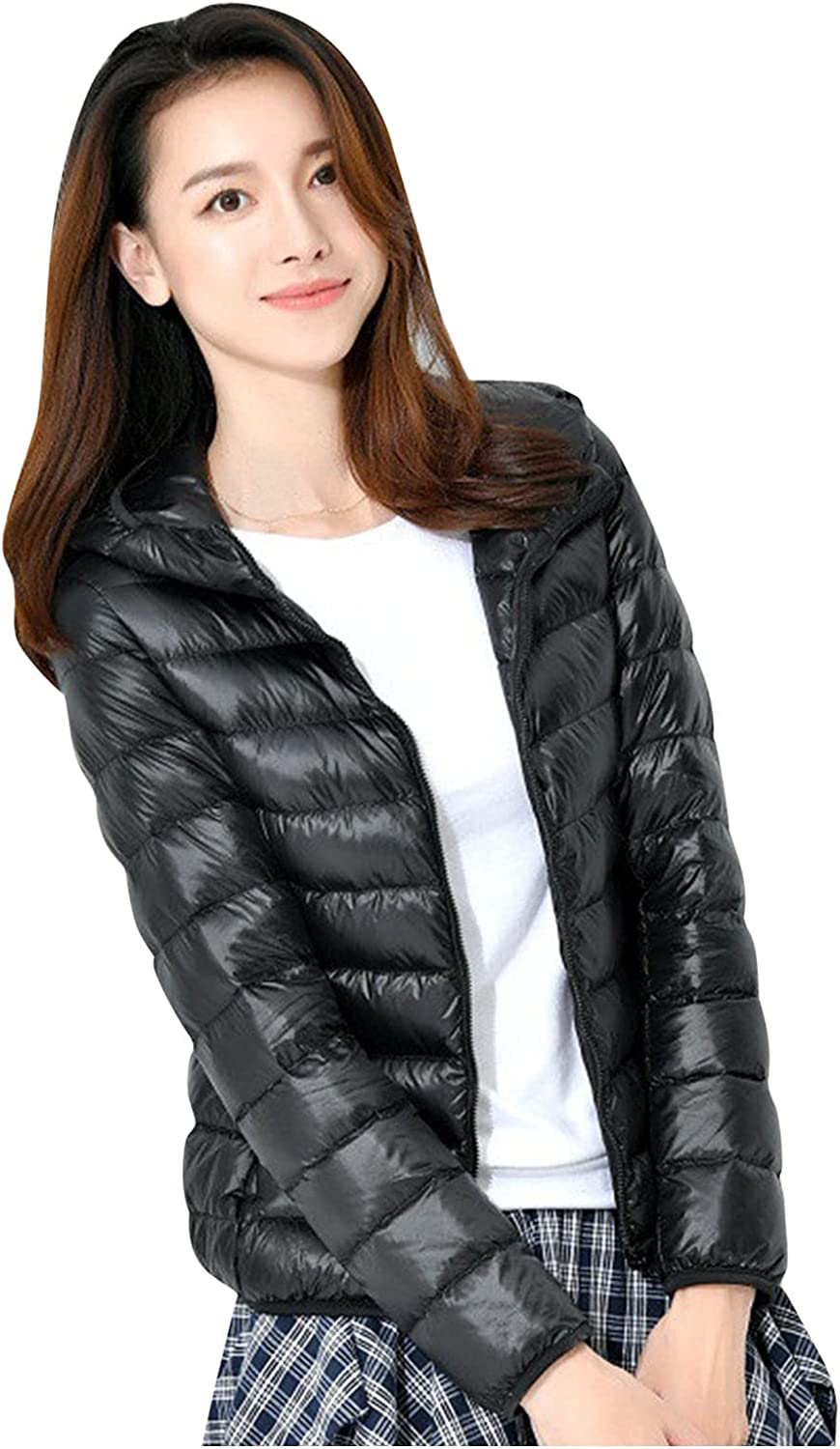 YSWD Women's Short Down Coats Casual Solid Hooded Packable Ultra Light Weight Jacket