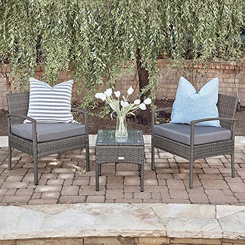 BELLEZE 3PC Patio Outdoor Wicker Furniture Outdoor Set Backyard Rattan Cushion Seat Set Chairs Coffee Table, Gray