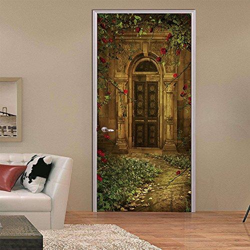 Puerta Pegatinas Mural Villa De Estilo Europeo 3D Impermeable Autoadhesiva Fotomurales Pared 77 x 200 cm