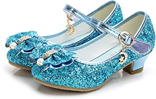 Kids Girls Mary Jane Wedding Party Shoes Glitter Low Heels Princess Dress Shoes