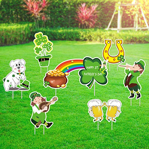 Flagicon 8PCS St. Patrick's Day Yard Signs Outdoor Decorations, 2021 Large Size Shamrock Lawn Signs Irish Saint Patrick's Day Outdoor Indoor Decorations with Stakes