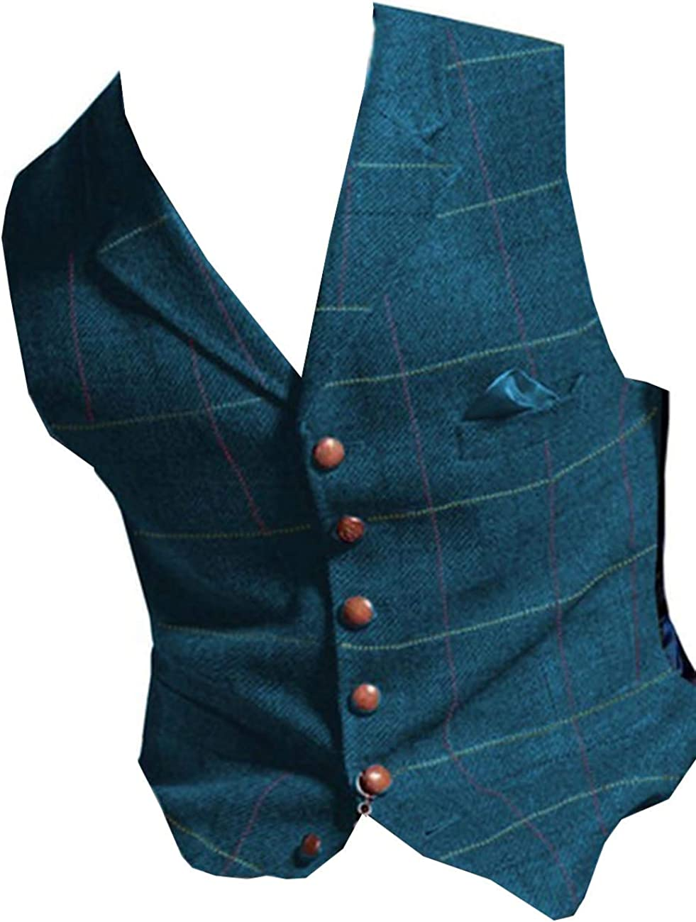 RONGKIM Men's Plaid Vest Tweed Waistcoat Slim Fit Lapel Plaid Suit Vest Casual Groomsmen Tuxedo for Wedding