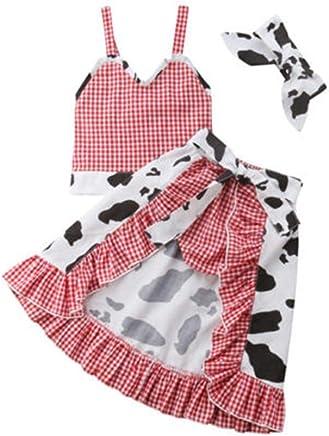 10a437de2f3ef Todder Kid Girl Dairy Cow Plaid Strap Top + Short + Skirt + Headband 4 Pcs
