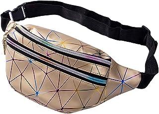 Riñonera con 4 bolsillos con cierre, para hombres y mujeres, resistente al agua, bolsa de cadera para deportes, viajes, senderismo (Oro, 12.2 * 5.1 * 3.2in)