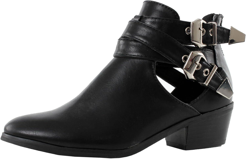 Reneeze kvinnor Beauty -04 mode mode mode Buckle Cut Back Zip Chunky Heel Ankle Booslips  handla på nätet