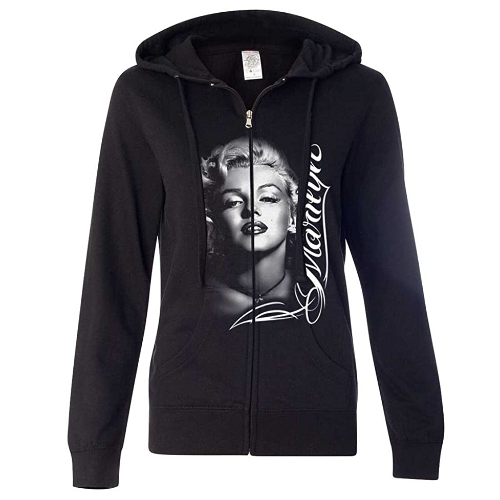 Marilyn Monroe Portrait Signature Ladies Fitted Zip-Up Hoodie byz296609090148