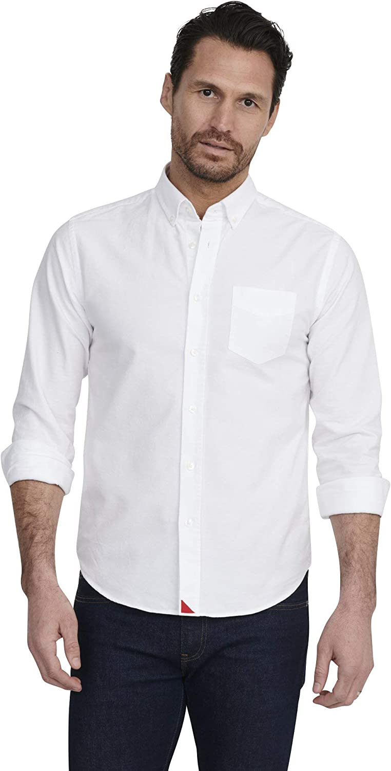 UNTUCKit Russian River - Untucked Shirt for Men Long Sleeve, White Oxford