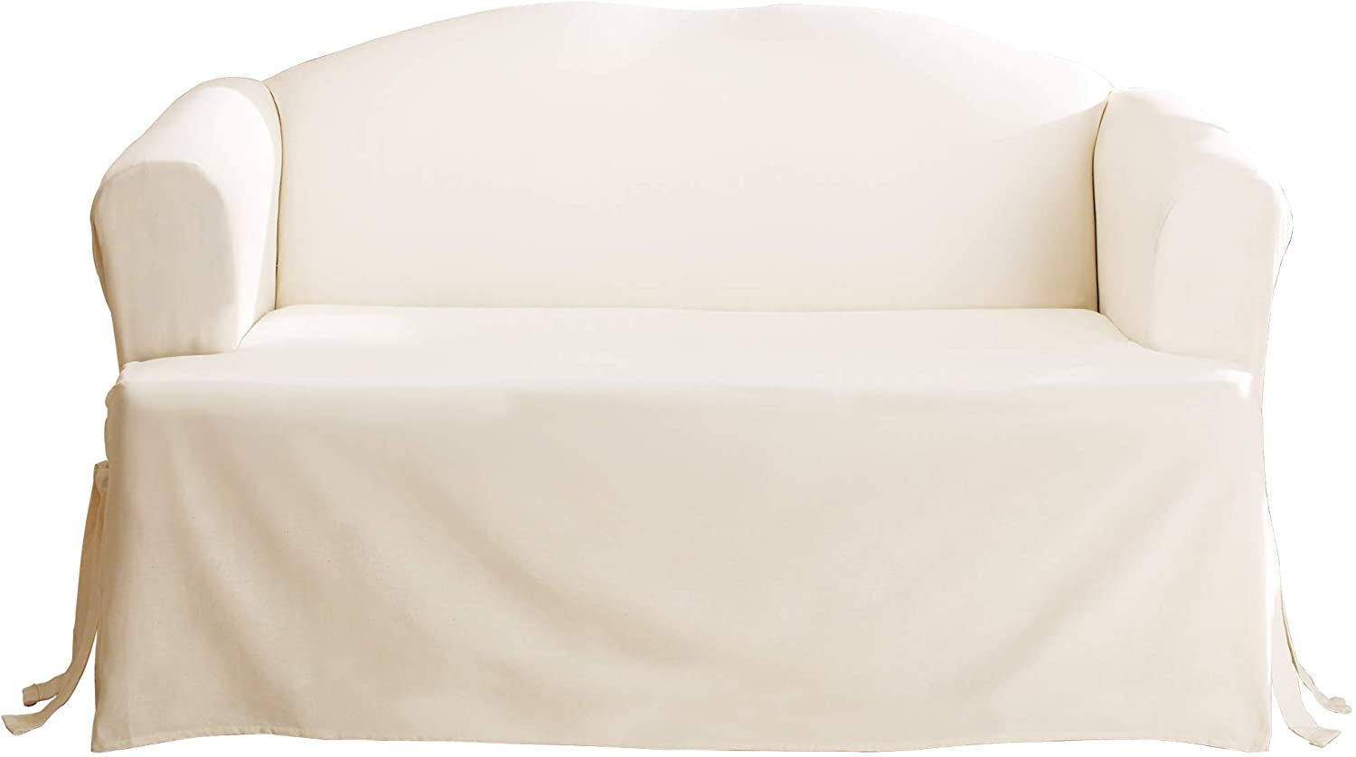 SureFit Home Décor SF28610 Duck Solid T-Cushion Loveseat Cover, Relaxed Fit, 100% Cotton, Machine Washable, One Piece, Natural Color