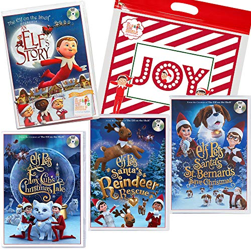 The Elf on the Shelf Animated DVD Movie Complete Pack: Santa's Reindeer Rescue, Santa's St. Bernards Save Christmas, A Fox Cub's Tale, an Elf's Story & Joy Bag