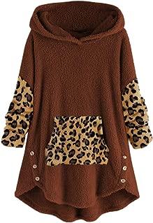 Fanybin Women Fleece Leopard Patchwork Sweatshirt Button Hem Plus Size Hoodie Top Sweater Blouse Warm Winter Outwear M-5XL