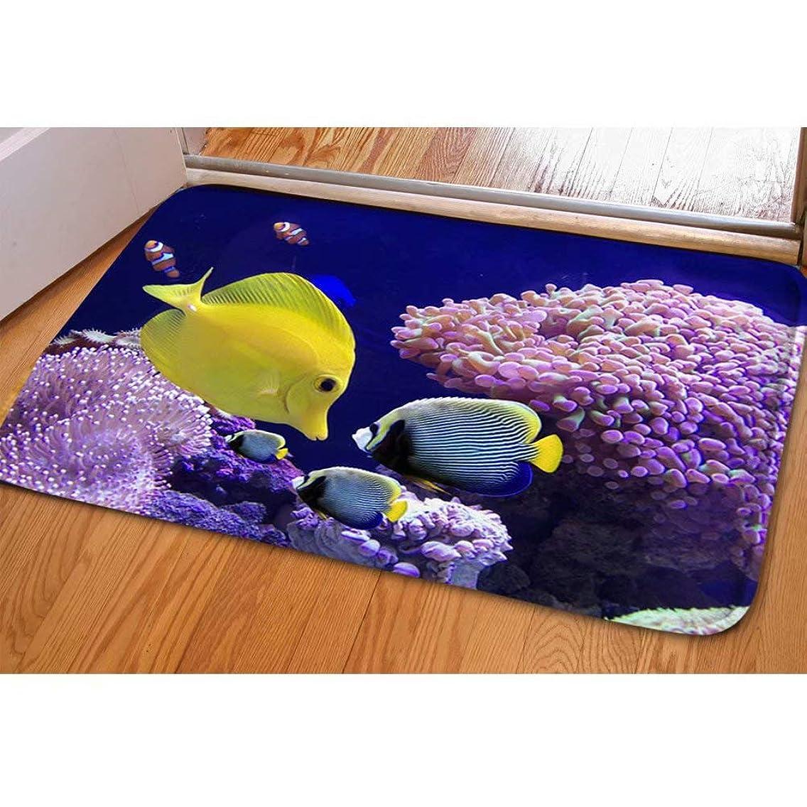Allcute Fish in Ocean Nature Flannel Blended Non-Slip Soft Children Bath Rugs Floor Home Kitchen Entryways Outdoor Indoor Doormat Warm Bedroom Undersea View Mat Carpet
