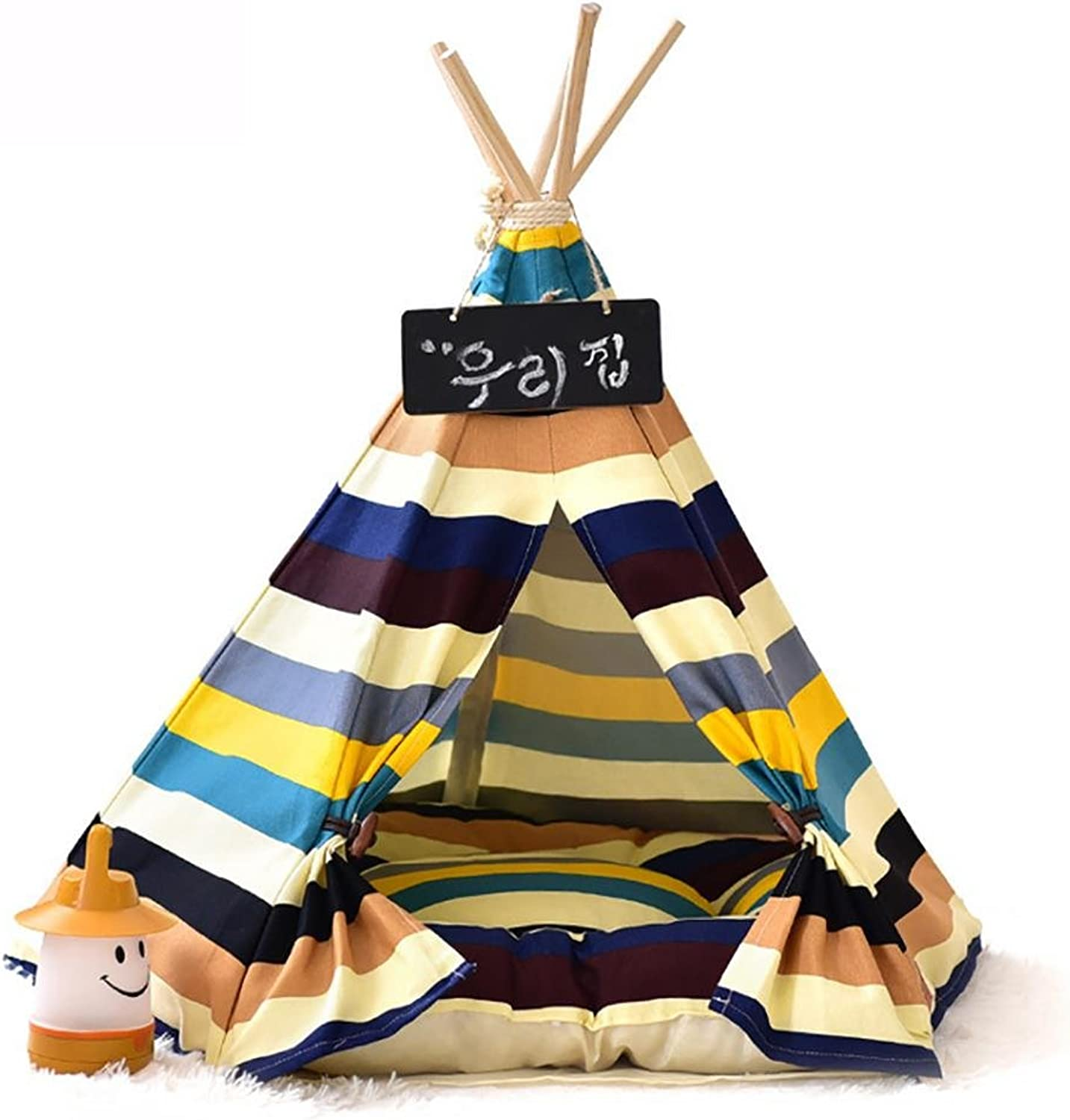 DIAMO Pet Teepee Dog(Puppy) & Cat Bed,Portable Pet Tents & Houses for Dog(Puppy) & Cat colorful Style with cushion