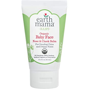 Organic Baby Face Nose & Cheek Balm for Dry Skin by Earth Mama | Natural Petroleum Jelly Alternative, 2-Fluid Ounce