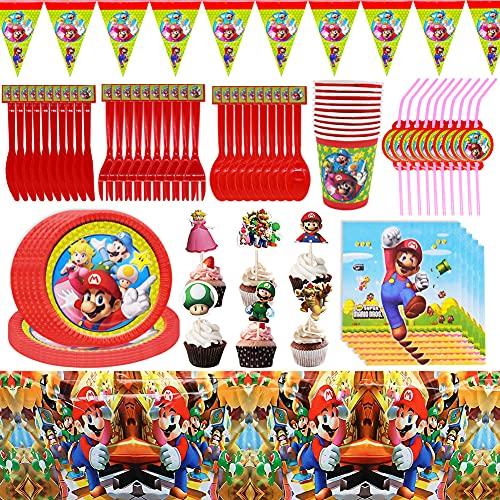Hilloly 96 pezzi Birthday Party Set Super Mario Piatti Tazze Tovaglioli Posate Banner Tovaglia Kit di Decorazione Stoviglie di Compleanno, per Feste di Compleanno per Bambini 10 Ospiti
