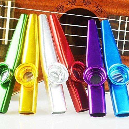 Sinblue 6-teiliges Kazoo-Set, aus Metall, bunt, geeignet als Begleitinstrumente für Gitarre, Ukulele, Geige, Klavier, Keyboard, tolles Geschenk für Kinder und Musikliebhaber