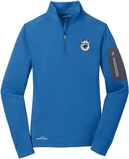 Cherrybrook Accent Blue Dog Breed Embroidered Eddie Bauer Ladies Half Zip Performance Fleece Jacket (All Breeds)