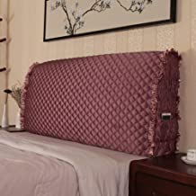 Thicken Bed Headboard Slipcovers, Dustproof Stretch Wood Leather Bedside Backrest Cover Silk Fabric Soft Case Protector Sl...