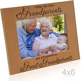 Only The Best Grandparents get Promoted to Great Grandparents Engraved Natural Wood Picture Frame, Grandma Grandpa Gifts, Grandparents Day Gifts, Mother's Day, Father's Day (4