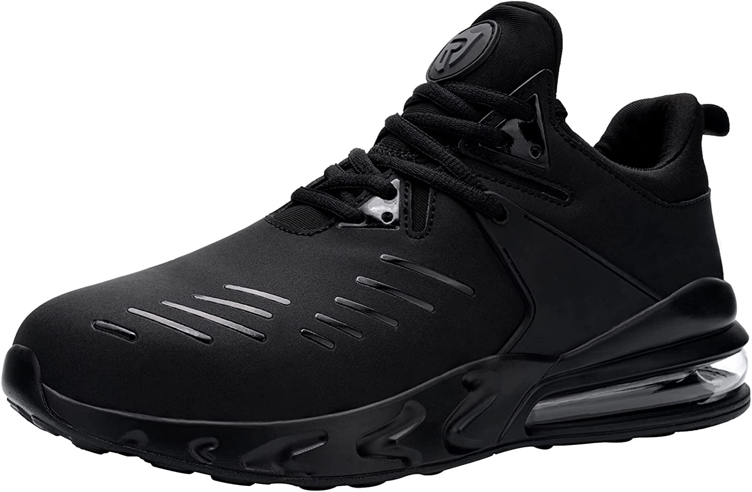 LARNMERN Steel Toe Shoes for Men Lightweight Work Safety Sneakers Industrial Construction Footwear Breathable Air Cushion Safety Toe Working Shoes Fashion Black