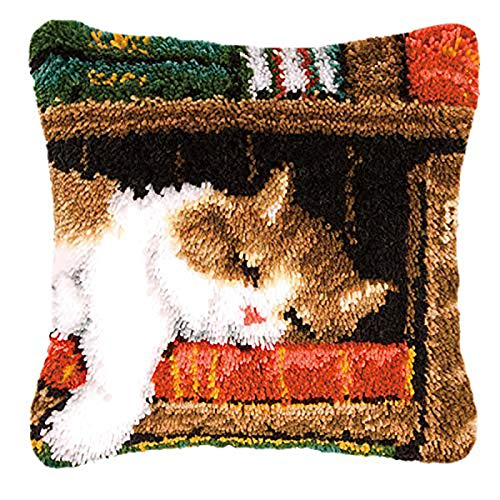 """Myriad Choices Latch Hook Kits Cat DIY Throw Pillow Case Latchkits Sofa Cushion Cover for Kids/Adults 16"""" x 16""""(Cat-268)"""