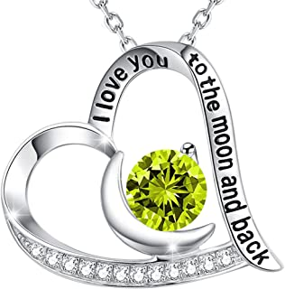 August Birthstone Green Peridot Necklace for Women Teen Girls Birthday Gifts Mom Wife ❤️ I Love You to the Moon and Back ❤️ Sterling Silver Fine Jewelry