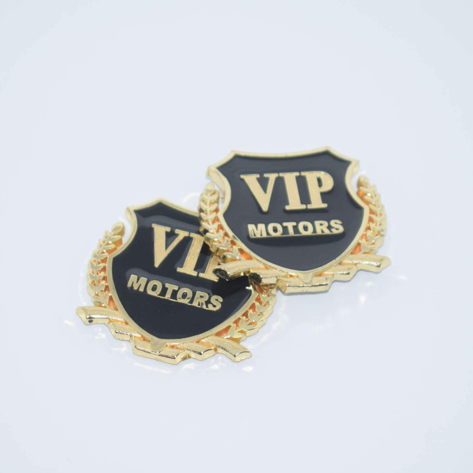 TOTUMY 2 Pieces 1335CH Vip Motors Silver Vip Class Chrome Metal Side Badge Emblem Mark For Pillar Post Trunk License Plate Etc Logo Auto Car Sticker Decal