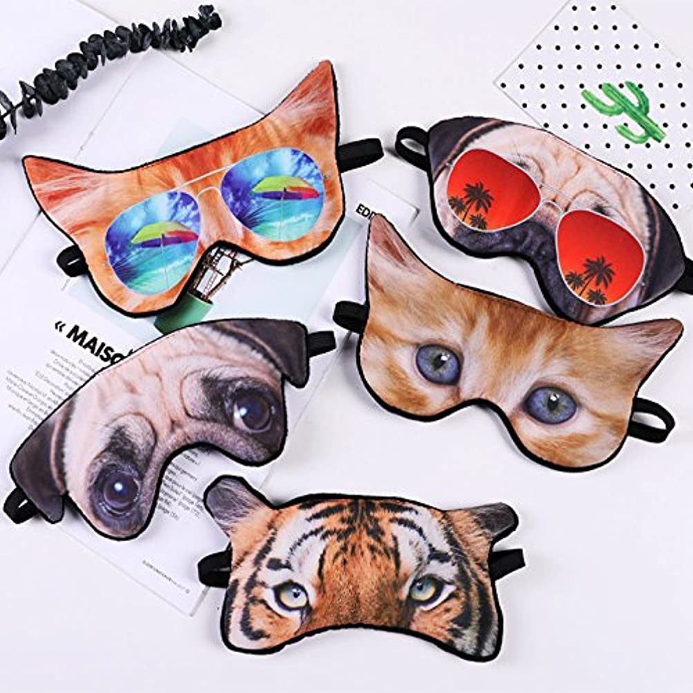 小川緊張見積り注1pc寝るための目に睡眠動物シェード睡眠マスクブラックマスク包帯を助けるために3Dプリントアイマスク