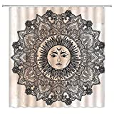 FILMILIL Sun and Moon Shower Curtain Mandala Celestial Black and White Decor Creativity Bohemian Indian Exotic Bathroom Curtains Decoration Waterproof Polyester Fabric with Hooks 70 x 70 Inch