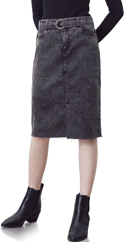 MOAU Women's High Waist Slit Knee Length Denim Skirt