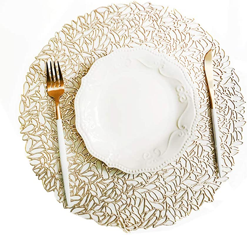 ADSRO PVC Hollow Dining Table Mats Non Slip Heat Insulation Kitchen Placemats Place Mats Charger Wedding Parties Accent Centerpiece