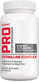 GNC Pro Performance Citrulline Complex 1700mg, 60 Tablets, Fuels Nitric Oxide Production for Healthy Blood Flow