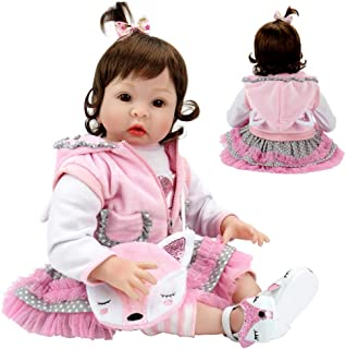 Aori Realistic Reborn Dolls 22 Inch Lifelike Handmade Soft Body Toy Weighted Roborn Baby Girl with Fox Gift Set